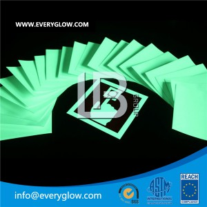 Everyglow photoluminescent-plate, it is made from Rigid pvc sheet. thickness: 1.0-2.0mm. Sheet size: 1200*1000mm, 600*1000mm,500*600mm Glow color: green Glow value: 260/35mcd/m2