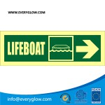 Lifeboat with arrow diagonally down left