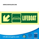 Lifeboat with arrow diagonally down left real