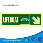Lifeboat with arrow diagonally down right
