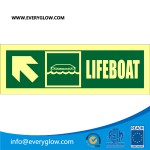 Lifeboat with arrow diagonally up left