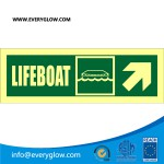 Lifeboat with arrow diagonally up right