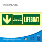 Lifeboat with arrow down on left