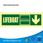 Lifeboat with arrow down on right