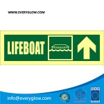 Lifeboat with arrow up on right