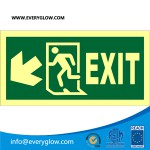 Lower case Exit with arrow diagonally down left