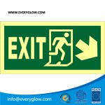 Lower case Exit with arrow diagonally down right